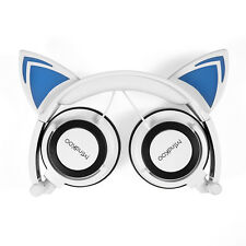 White Mindkoo Cat Ear Headset Foldable CUTE LEDLight Headphone Earphone Headband