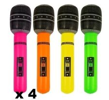4 x Inflatable Blow Up MicroPhone Fancy Dress Party Prop Musical Disco 40 cm New