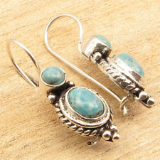 925 Silver Plated Earrings 1 1/8 inches !! Fancy LARIMAR Double Stone Jewelry