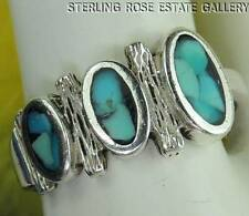 VINTAGE CHIPPED TURQUOISE Sterling Silver 0.925 Estate RING size 6.5