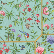 Duck Egg Chinese wallpaper Caspari luxury paper table napkins 20 pack 33cm