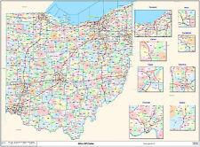 Ohio State Zipcode Laminated Wall Map