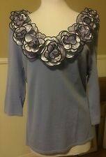 Fancy Pre-Owned Women Blouse By Leo Guy Size XL Lavender Color