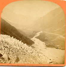MER DE GLACE - VALLEY OF CHARMONIX VIEW FROM DU CHAPEAU FRANCE STEREOVIEW