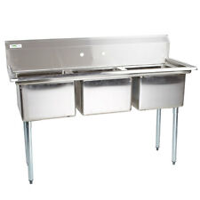 """54"""" Stainless Steel 3 Compartment Commercial Sink without Drainboards"""