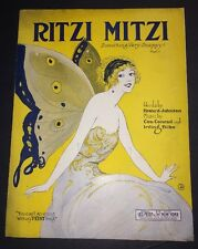 Graphic  Art Ritzi Mitzi Sheet  Music Old Original Pretty Girl Graphic Art Deco