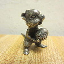 Vintage Sterling Silver Miniature Squirrel Chipmunk Figurine With Acorn