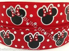 "1 METRE RED MINNIE MOUSE GROSGRAIN RIBBON 22MM 7/8"" HAIR BOW CAKE CARD"