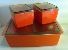 3 Vintage Retro Nally Ware Bright Orange Plastic Food Storage Containers (4635)