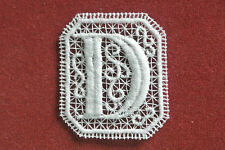 Oblong letter/initial D lace motif - applique/sew on trim/craft/card making