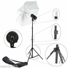 Flash da Studio Professionale KIT 100W Potenza Regolabile con Ombrello e Stativo