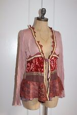 Anthropologie Cardigan  By Hazel Lace And Velvet Accent Crinkled Sweater sz m