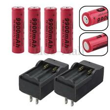 4 PCS 9900mAh 3.7v 18650 Rechargeable Li-ion Torch Battery + 2x Smart Charger