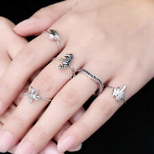 Cute Tibetan Silver Stack Above Knuckle Ring Midi Finger Tip Rings Set 5PCS