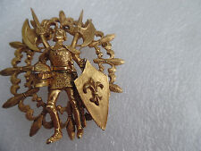 HATTIE CARNEGIE VINTAGE BROOCH W, KNIGHT HOLDING ARMOUR & SHIELD  GOOD CONDITION