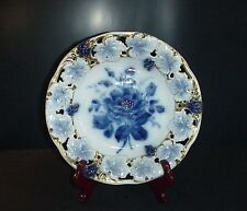 Carl Tielsch CT Germany Altwasse Porcelain Pierced Bowl Cobalt Blue Grapes