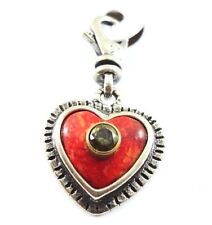 """Silpada Heart """"Red-hot Love"""" Brass Coral CZ 925 Sterling Silver Charm 2561 New"""