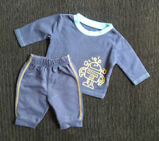 Baby clothes BOY newborn 0-1m dark blue/yellow outfit soft trousers/robot top