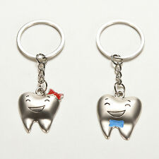 1Pair Tooth Couple Metal Keychain Keyring Gift For Lover Children Friend WB