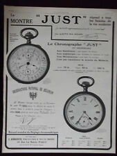 1911 JUST Chronograph and Pocket Watches French Advertisement