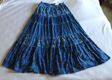 NWT Coldwater Creek M Medium 10 12 Blue Floral Bohemian Maxi Skirt Long Boho New