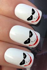 NAIL ART SET #615 x24 SCARY CRAZY JOKER FACE WATER TRANSFER DECALS STICKERS