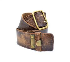 Vintage mens leather military belt army old antique brass buckle soldier