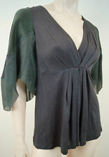 VANESSA BRUNO Grey Wool V Neck Pleated Green Silk Short Sleeve Tunic Top 2 BNWT