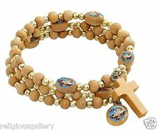 Blue Guardian Angel Bracelet Wood Spiral Rosary with Gold Color Spacer
