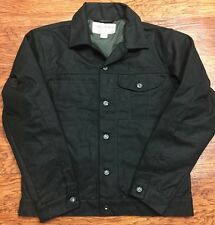 NWT Filson Mens M Jacket Black Oil Cover Cloth Mile Marker Coat Cotton USA Waxed