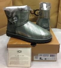 UGG AUSTRALIA WOMENS MINI BAILEY BUTTON BLING GREY SIZE 9 US BLING BLING