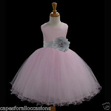 PINK TULLE WEDDING CUTE FLOWER GIRL DRESS COLOR CHOICE TIEBOW 12-18M 2 4 6 8 10