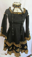 Gothic Lolita Black Yellow Card Suit Dress Bondage Emo Punk Bodyline M NEW NWT