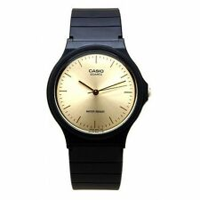Casio MQ-24-9E Gold Dial Black Resin Strap Analog Round Casual Watch