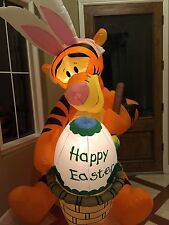 GEMMY Disney 6' Lighted Tigger Easter Bunny Painting Egg Airblown Inflatable