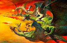 Flight of the Dragons by Boris Vallejo A1 High Quality Canvas Print
