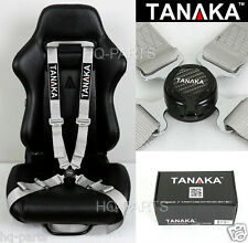 1 TANAKA UNIVERSAL SILVER 4 POINT CAMLOCK QUICK RELEASE RACING SEAT BELT HARNESS