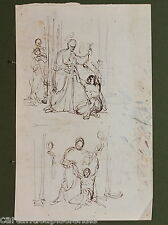 DISEGNO BOZZETTO DRAWING 1800 CHINA SU CARTA SCENA SACRA