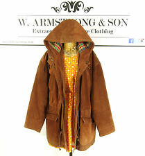 Women's Tan Brown GENUINE SUEDE LEATHER Hooded Checked Outdoor Modern Jacket L