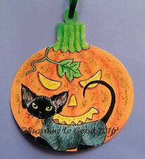 ORIGINAL DESIGN DEVON REX CAT HALLOWEEN  PAINTING LAMINATED SIGN SUZANNE LE GOOD