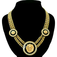"Lion Head Necklace Chunky Gold Statement Double 18"" Chain Link Celebrity Fashion"
