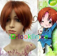 Axis Powers Hetalia APH ITALY Short Light Brown Cosplay Wig + Free wig cap