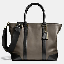 Coach Mens 71026 BLEECKER leather business tote bag in slate and black