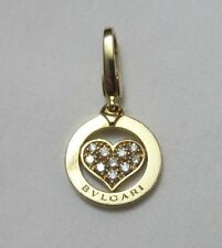 BVLGARI BULGARI 18K YELLOW GOLD DIAMOND HEART CHARM PENDANT