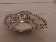 Antique Reticulated Sterling Silver Basket 1900 Hallmark  Bows Pierced Lovely!