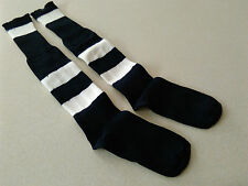 1 PAIR New Football Socks Black/White Hoop Child Size MED 3-6 Shoe Hockey Rugby