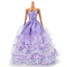 1 Pcs Long Veil Trailing Dress for Barbies Purple Handmade Dresses for Doll V16