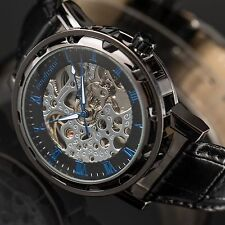 PACIFISTOR Mens Skeleton Mechanical Wrist Watch Stainless Steel Classic Leather