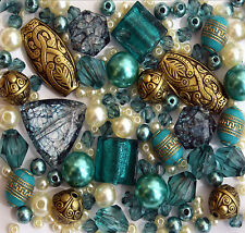 Mixed lot of Turquoise Gold Jewellery Making Glass Acrylic Beads