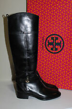 New sz 5 Tory Burch Brita Black Leather Gold Logo Riding Knee High Boot Shoes